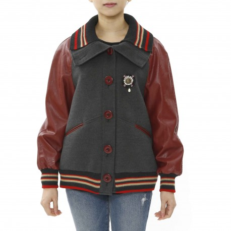 Jijil Leather Sleeve Jacket with Stripe Detail