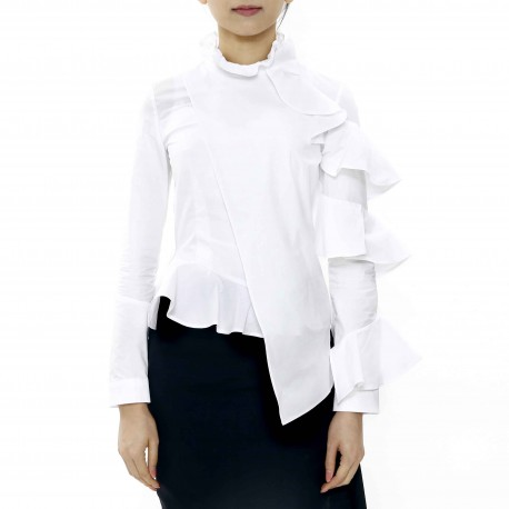 Dozoh Ruffle Blouse with Asymmetric Sleeves and Hemline