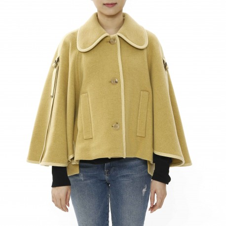 Chloé Herringbone Cape with Piping Detail