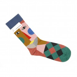 Bonne Maison Abstract Portrait Diamond Square Socks