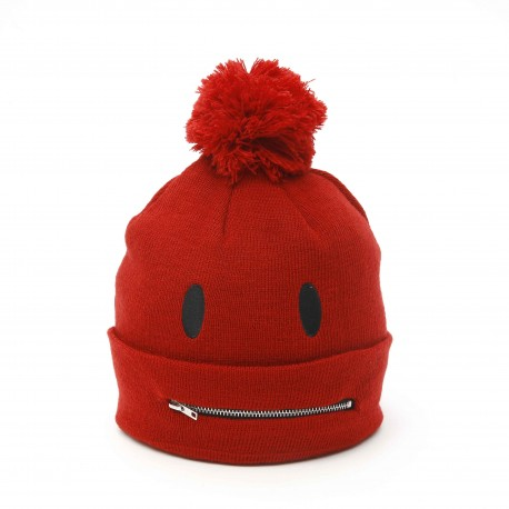 Smiley World Pompom Beanie with Zip Detail