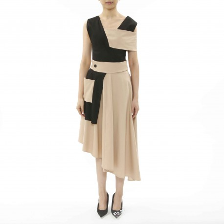 Dozoh Dress with Asymmetric Hemline