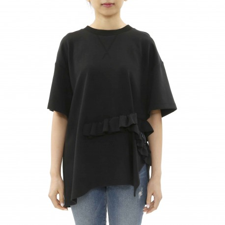 J Koo Cutout T-shirt with Ruffle Detail