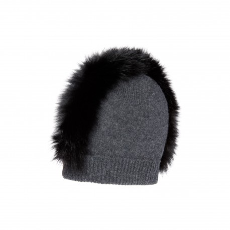 Charlotte Simone Cashmere Beanie with Real Fox Fur Mohawk