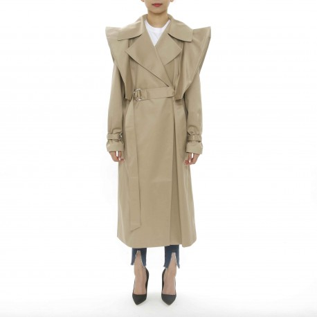 Besfxxk Puff-sleeve Trench Coat