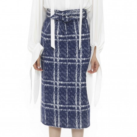 YCH H-line Chequered Midi Skirt