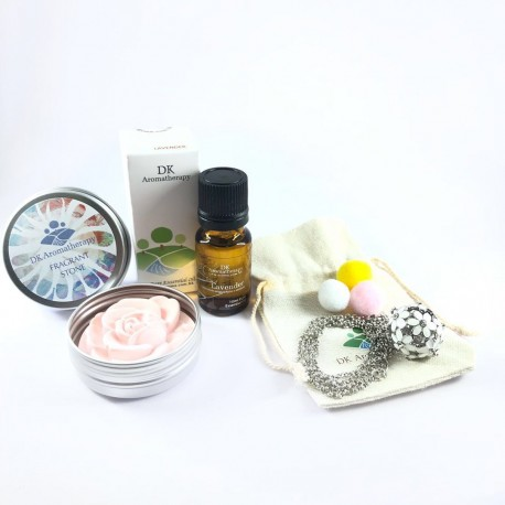 DK Aromatherapy Pure Essential Oil, Fragrant Stone and Aroma Necklace Set