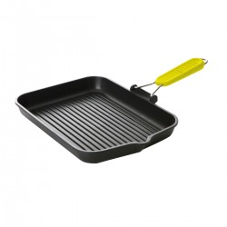Risoli POP Cooking Art Induction Rectangolar Grillwith Yellow Folding Handle 36 x 28cm
