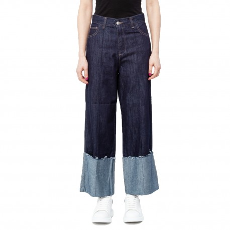 Jijil 3/4 Length Wide Jeans with Wide Cuff Detail