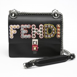 Fendi Kan I Black Leather Mini Bag