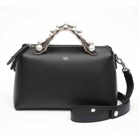 Fendi By The Way Black Leather Boston Bag