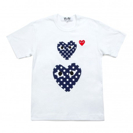 Comme des Garcons Play Polka Dot Twin Heart T-shirt