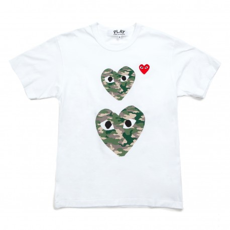Comme Des Garcons Play Camouflage Twin Heart T-Shirt