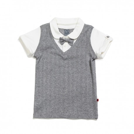 Adorami Bow-trimmed Patchwork Polo Shirt