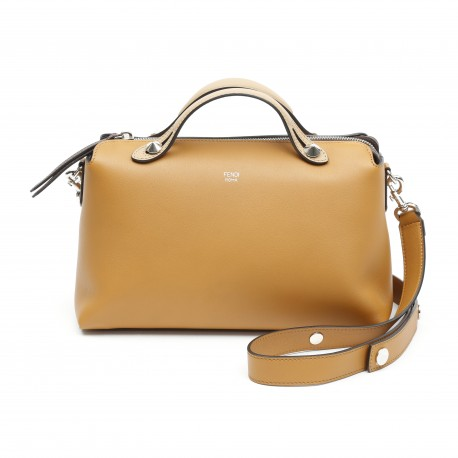 Fendi By The Way Regular Caramel Leather Boston Bag