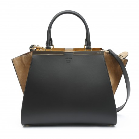 Fendi 3jours Black And Light Brown Leather Shopper Bag