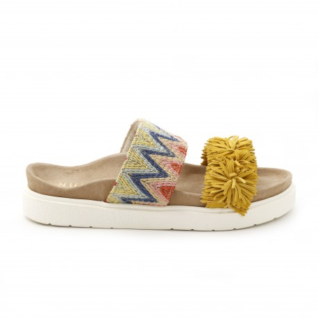 Inuikii Raffia Colored Yellow Sandal