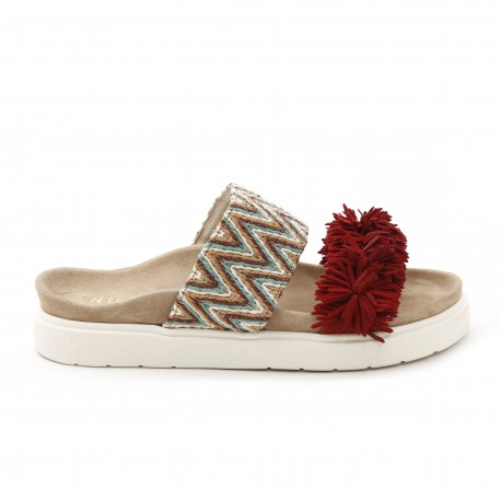 Inuikii Raffia Colored Red Sandal