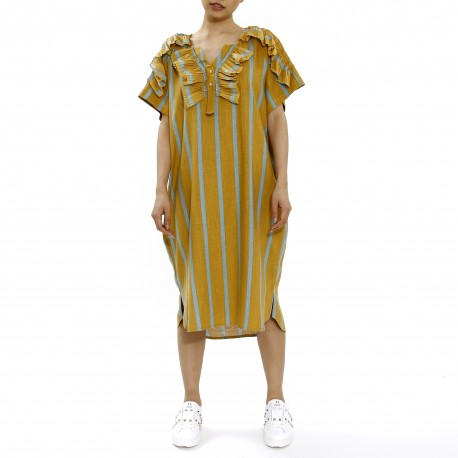 Joyce Stripe Ruffled Midi Dress