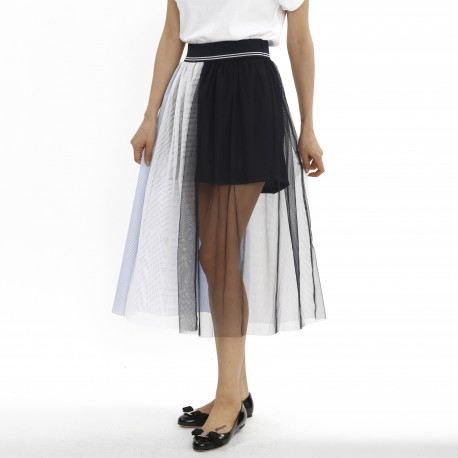 Bien Color-block Patchworked Layered Maxi Skirt