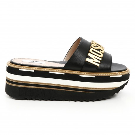 Moschino logo 70mm high leather wedge sandals