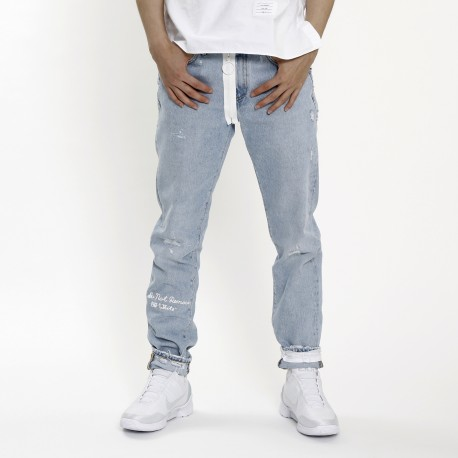 Off-White Distressed Firetape Jeans