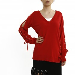 Costume National eyelet V Neck Knit