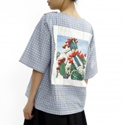 Joyce Cuffed Checked Graphic Top
