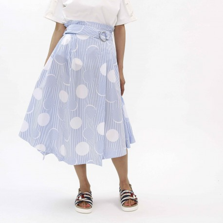 MARIE MARIE Striped Circle Midi Skirt