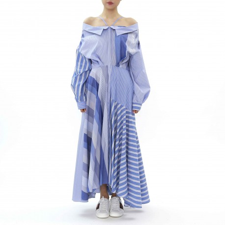 Enfold One-shoulder Multi Stripe Shirt Maxi Dress