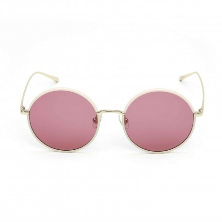 Stephane Christian Pink and gold Round Frame Dark Pink Lens Sunglasses