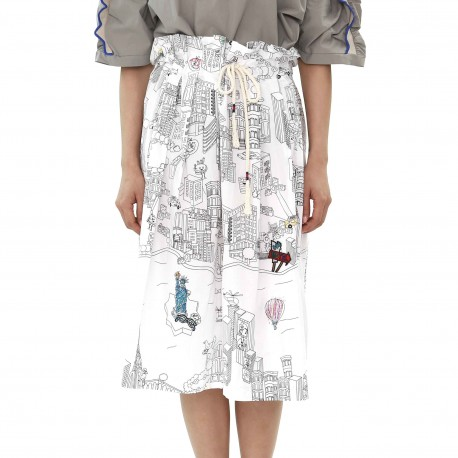 ETAGE Painting Embroidered Midi Skirt