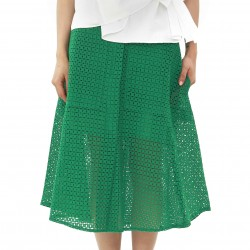 Eyeful Embroidered Squared Pattern Skirt