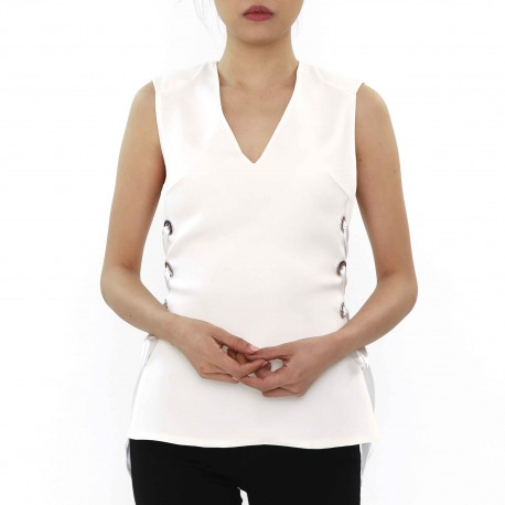 Costume National Shoulder Pads Sleeveless Tops