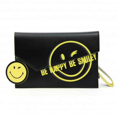 Smiley World Flap Smiley Face Clutch