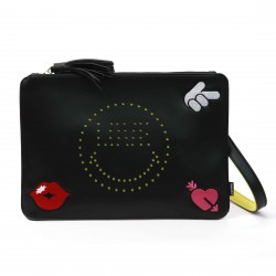 Smiley World Perforated Smiley Face Clutch