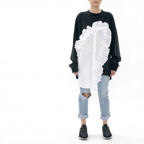 J Koo Sweatshirt with Ruffle and Button Details