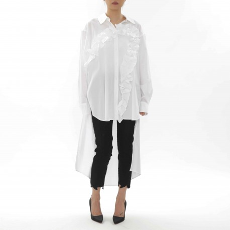 J Koo Long Blouse with Ruffle and Mullet Hem Detail