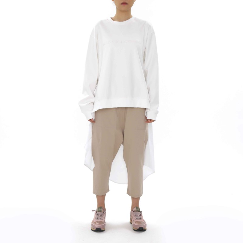 J Koo Slogan Sweatshirt with Poplin Detail