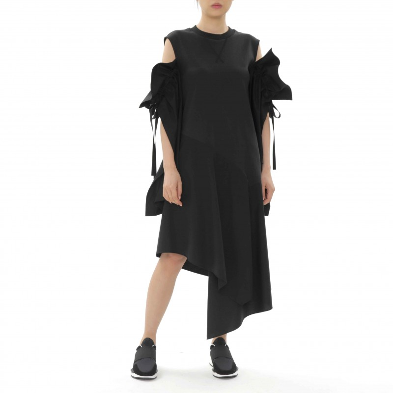 J Koo Dress with Open Sleeve Detail