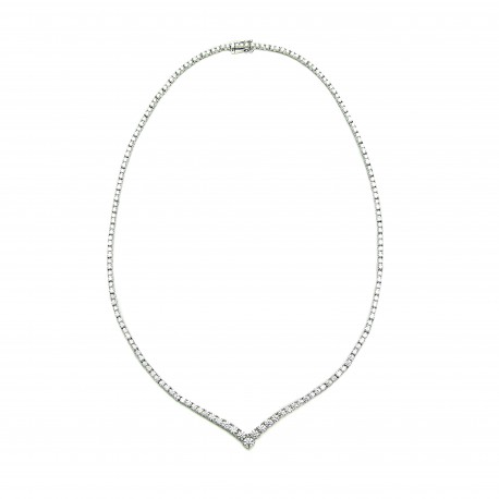 "Diamour 18K White Gold Diamond ""V"" Necklace"