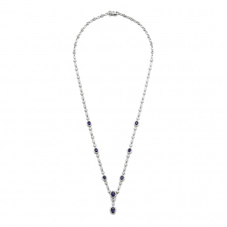 Diamour 18K White Gold Diamond and Sapphire Necklace