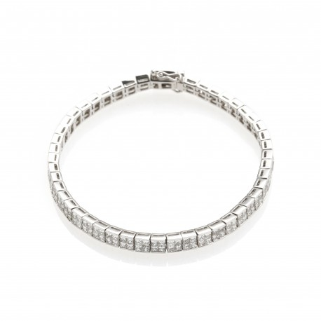 Diamour 'Squares' Men's 18K White Gold Diamond Bracelet