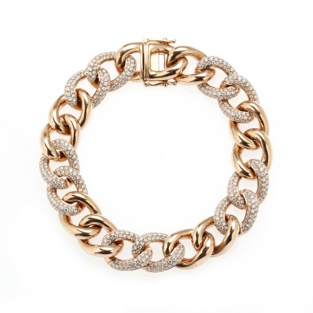 Diamour 'Chain' Men's 18K Rose Gold Diamond Bracelet