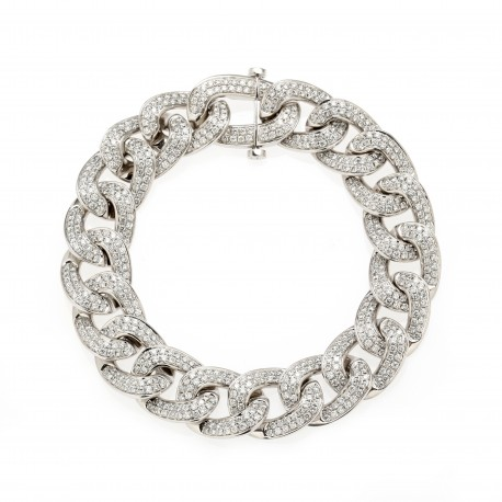 Diamour 'Chain' Men's 18K White Gold Diamond Bracelet