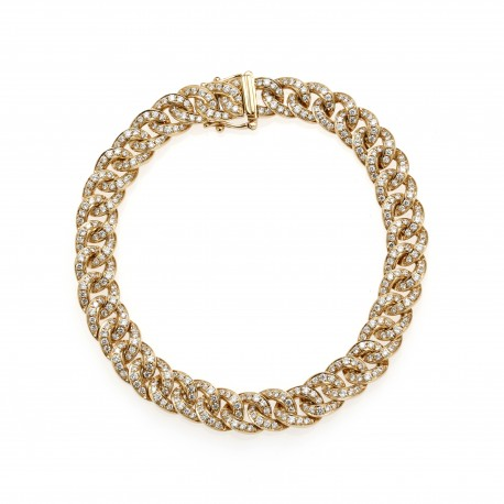 Diamour 'Chain' Men's 18K Gold Diamond Bracelet