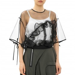 J Koo Tulle Top with Ruffle Detail