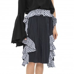 Facetasm Skirt with Chequered Ruffle Detail
