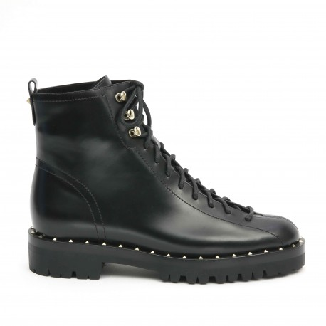 Valentino Rockstud Lace-up Ankle Boots